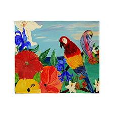 parrot garden Throw Blanket