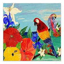"""parrot garden Square Car Magnet 3"""" x 3"""""""