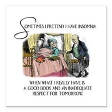 "Insomnia and a Good Book Square Car Magnet 3"" x 3"""