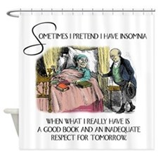 Insomnia and a Good Book Shower Curtain