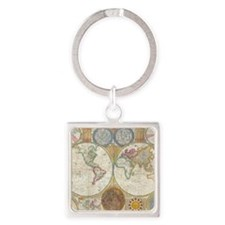 World Map 1794 Square Keychain