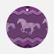 Purple Paisley Horse Round Ornament