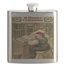 Vintage Christmas Santa List Flask