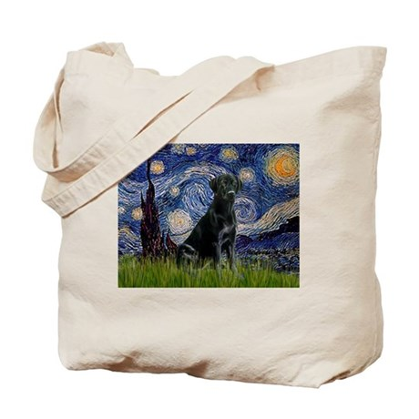 Starry Night Black Lab Tote Bag