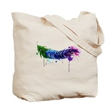 Watercolor Feather Tote Bag