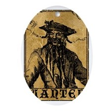 Blackbeard Wanted Poster Oval Ornament