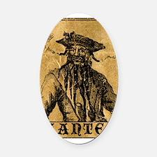 Blackbeard Wanted Poster Oval Car Magnet