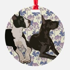 Great Danes and Flowers Ornament