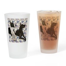 Great Danes and Flowers Drinking Glass