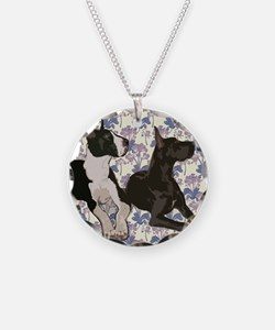 Great Danes and Flowers Necklace