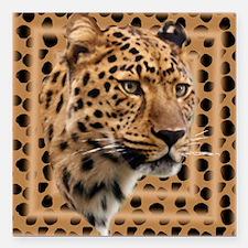 """Leopard Spots Square Car Magnet 3"""" x 3"""""""