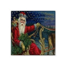 "Vintage Christmas Santa Sle Square Sticker 3"" x 3"""