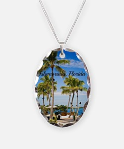 Islamorada, Florida - Day at t Necklace Oval Charm