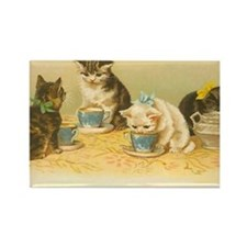 4 Cute Cats Having Tea Rectangle Magnet