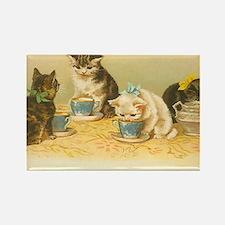 4 Cute Cats Having Tea Rectangle Magnet
