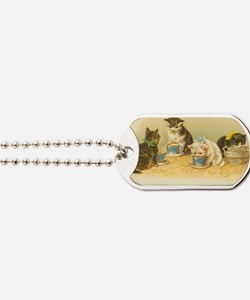 4 Cute Cats Having Tea Dog Tags