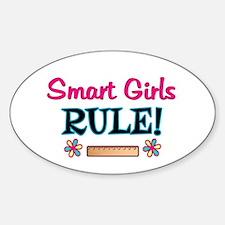 Smart Girls Rule! Sticker (Oval)