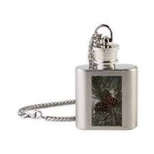 Pinecones In Snow Flask Necklace