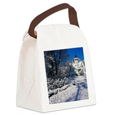 Rural Farm Life Snow Scene Canvas Lunch Bag