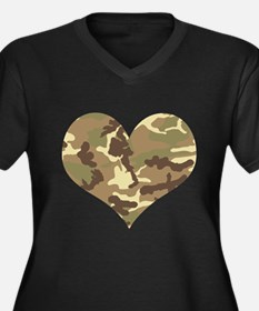 Camouflage Heart Green and Brown Plus Size T-Shirt