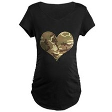 Camouflage Heart Green and Brown Maternity T-Shirt