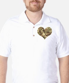 Camouflage Heart Green and Brown Golf Shirt