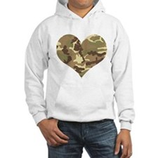 Camouflage Heart Green and Brown Hoodie