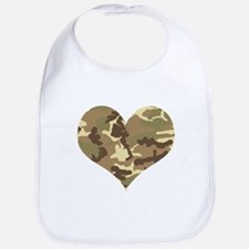Camouflage Heart Green and Brown Bib