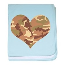 Camouflage Heart Green and Brown baby blanket