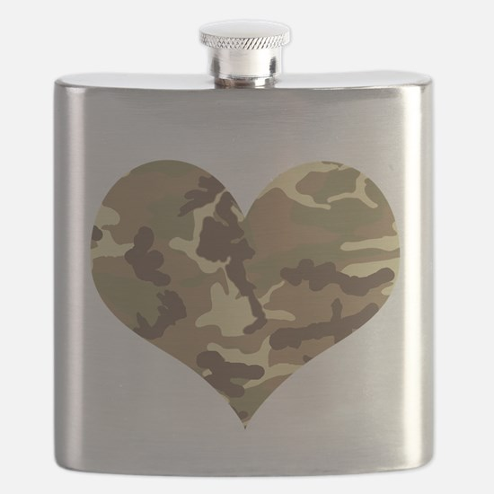 Camouflage Heart Green and Brown Flask