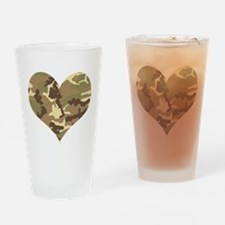 Camouflage Heart Green and Brown Drinking Glass