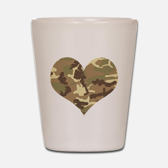 Camouflage Heart Green and Brown Shot Glass