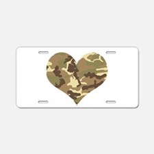 Camouflage Heart Green and Brown Aluminum License