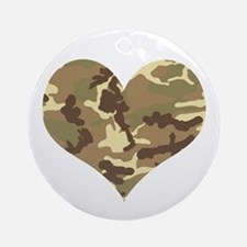 Camouflage Heart Green and Brown Ornament (Round)