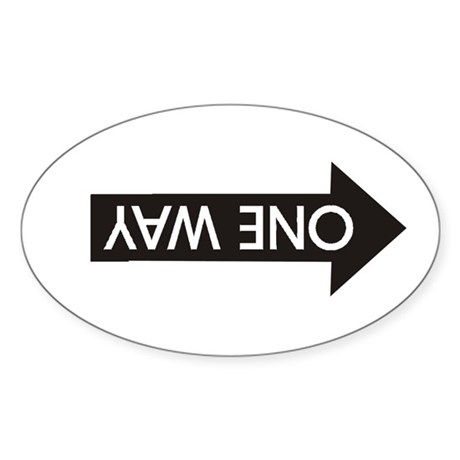 Wrong Way Oval Sticker