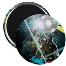 Howling Disco Wolves Hipster Shirt Magnet