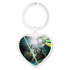 Howling Disco Wolves Hipster Shirt Heart Keychain