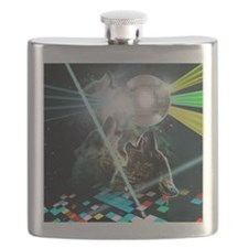 Howling Disco Wolves Hipster Shirt Flask