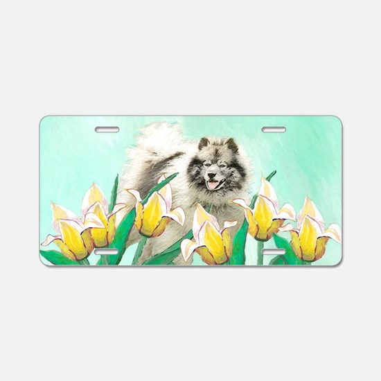 Keeshond in Tulips Aluminum License Plate