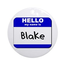 hello my name is blake  Ornament (Round)