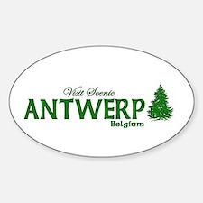 Visit Scenic Antwerp, Belgium Oval Decal