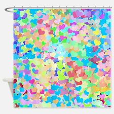 Bright Confetti Hearts Shower Curtain