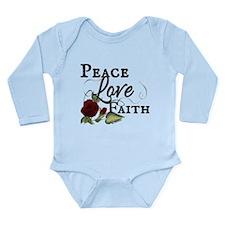 PFL Red Rose Design Long Sleeve Infant Bodysuit