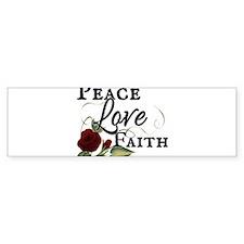 Peace Faith Love Red Rose Design Bumper Bumper Sticker