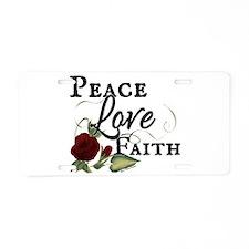 Peace Faith Love Red Rose Design Aluminum License