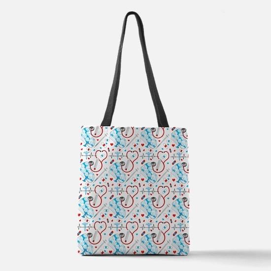 Cute Nurse Polyester Tote Bag
