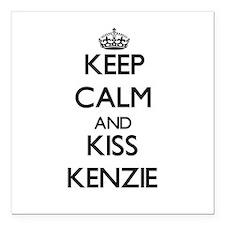 "Keep Calm and kiss Kenzie Square Car Magnet 3"" x 3"