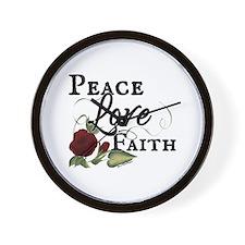 Peace Faith Love Red Rose Design Wall Clock
