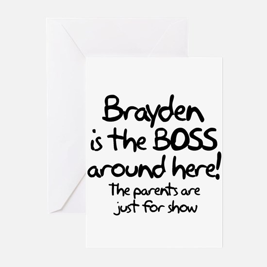 Brayden is the Boss Greeting Cards (Pk of 10)