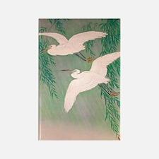 Flying White Birds Rectangle Magnet